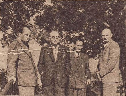 Pietro Nenni (second from the left) and Lelio Basso (on the left) in Warsaw, with them on the right Stanislaw Szwalbe Pietro Nenni - Film nr 25 - 1947-09-15.JPG