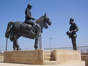 Mikveh Israel - The meeting between Herzl and Kaiser Wilhelm in Mikveh Israel. Sculpture by Motti Mizrachi.