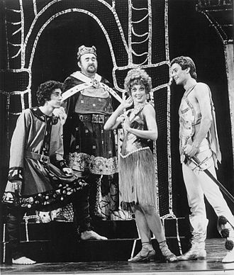 Pepin the Hunchback - Publicity photo of American actors, (L–R) Barry Williams, I.M. Hogson, Louisa Flaningam and Adam Grammis promoting a 1975 theatrical production of Pippin.