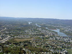 Aerial view of Greater Pittston. Pittston City can be seen along the Susquehanna River's left bank.