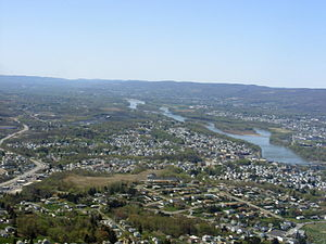 Exeter, Pennsylvania - An aerial view of Greater Pittston. Exeter can be seen on the right-hand side of the Susquehanna River.