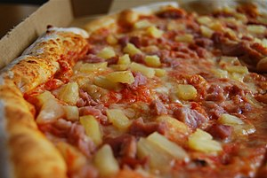 Hawaiian pizza - Hawaiian pizza with pineapple chunks