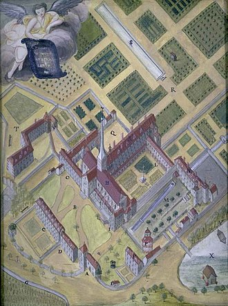 Port-Royal-des-Champs Abbey - Plan of Port-Royal-des-Champs, engraving by Louise-Magdeleine Horthemels, c. 1710