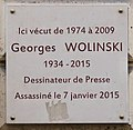 Plaque Georges Wolinski, 34 rue Bonaparte, Paris 6e.jpg