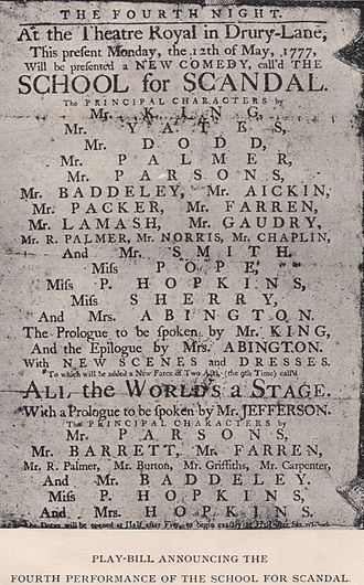Scandal - Playbill for the fourth performance of Sheridan's comedy The School For Scandal (1777)