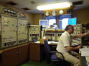 Radio operator - A radio operator aboard the RV ''Polarstern''.