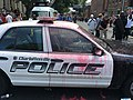 Police car covered in pink paint (35780915123).jpg