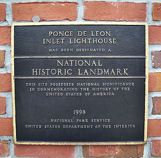 Ponce de Leon Inlet Light - National Historic Landmark plaque