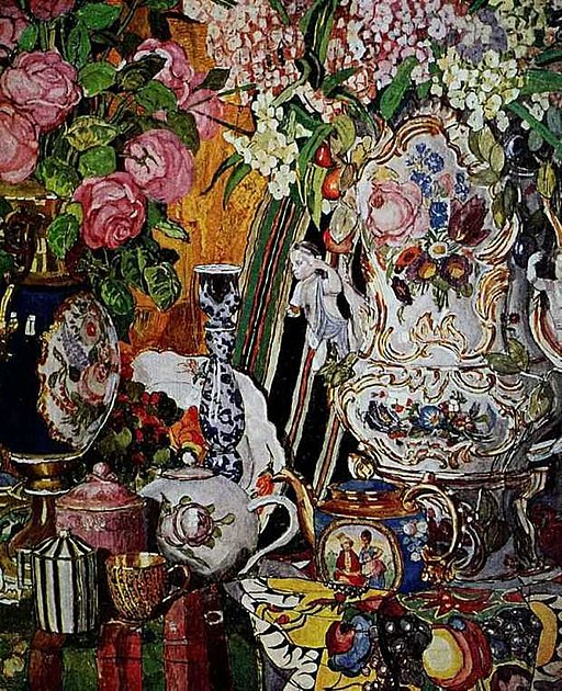 Porcelain and flowers by A.Golovin (1915)
