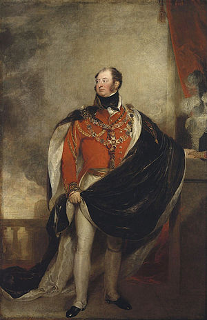 Prince Frederick, Duke of York and Albany - The Duke of York, painted by Sir Thomas Lawrence, in the uniform of a Field-Marshal, with the mantle of the Order of the Garter, holding his Marshal's baton in his left hand.