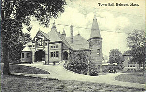 Belmont Public Library - The former Belmont Town Hall and Public Library in 1913.