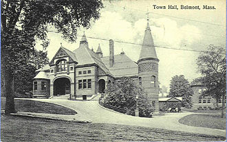 Belmont, Massachusetts - Belmont Town Hall circa 1913, architects Hartwell and Richardson
