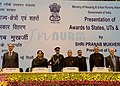 Pranab Mukherjee at the presentation of the Awards to the StatesUTs for effective Implementation of Jawaharlal Nehru National Urban Renewal Mission (JnNURM), instituted by the Mo HUPA, in New Delhi. The Governor of Punjab.jpg