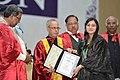 Pranab Mukherjee presenting the degree certificate to a student, at the 2nd Convocation of Central University of Karnataka, at Kalaburagi, Karnataka. The Chief Minister of Karnataka (1).jpg