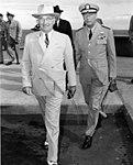 President Harry S. Truman and Admiral Arthur W. Radford at Hickam Field, Hawaii.jpg
