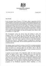 Briefe der britischen Premierministerin Theresa May mit der Bitte um Aufschub des EU-Austritts zum 30.Juni 2019 gemäß Art. 50 EUV