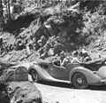 Prime Minister Jawaharlal Nehru, and Lord and Lady Mountbatten going round Simla in a car during a holiday.jpg