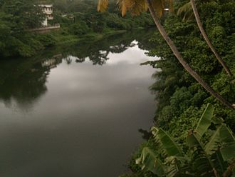 Punalur - Punalur kallada river seen from Punalur Suspension Bridge