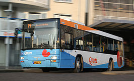 Een MAN Lion's City bus in de huisstijl van Qbuzz.
