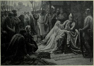 Philippa of Hainault - Queen Philippa interceding for the Burghers of Calais by J.D. Penrose