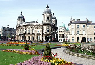 Queen's Gardens, Hull - Queen's Gardens, looking west-southwest towards the former Dock Office building which is now Hull Maritime Museum