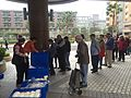 Queue of Buying Mantou in Ziqiang Community Center, Songshan District, Taipei 20160307b.JPG