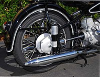 Exposed driveshaft on a classic BMW motorcycle