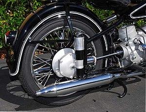Swingarm - Plunger suspension on a 1953 BMW R51/3