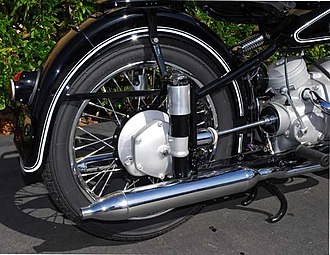 Swingarm - Plunger suspension on a 1953 BMW R51/3