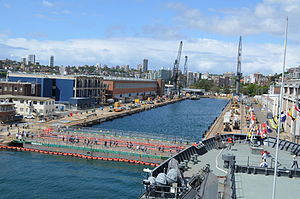 Garden Island, New South Wales - Captain Cook Graving Dock when flooded
