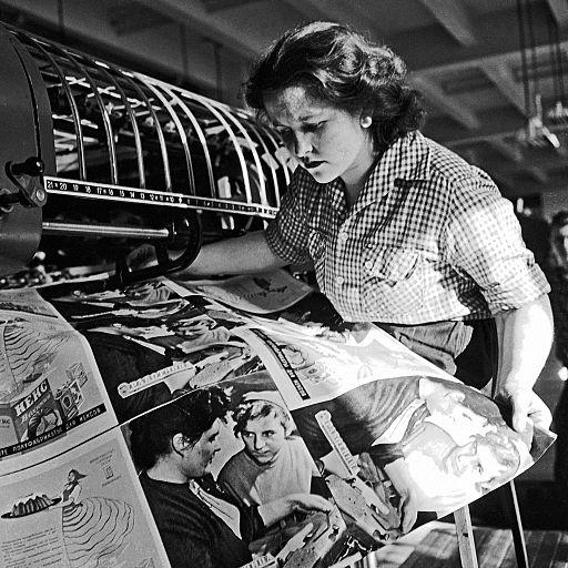 "RIAN archive 360321 Surveyor of the newspaper ""Pravda"" printing works"