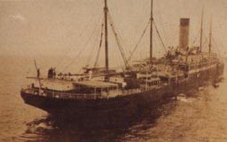 RMS Republic (1903) - The Republic sinking by the stern after having been hit by the Lloyd Italiano liner Florida.