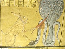 Ra slays Apep (tomb scene in Deir el-Medina).jpg