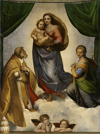 Looted art - The Sistine Madonna by Raphael, looted by the Soviets after World War II and returned to the Dresden Gallery (Gemäldegalerie Alte Meister) in East Germany in 1955.