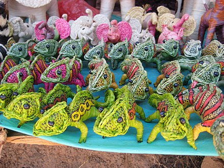 Toy animals made from raffia, a native palm Raffia animals created by artisans in Madagascar.jpg