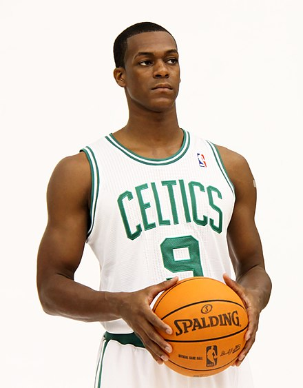 "Rajon Rondo became the Celtics' leader after the new ""Big Three"" left. Rajon Rondo Media Day.jpg"