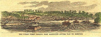 Tipton County, Tennessee - Union fleet passing Fort Randolph (1865)