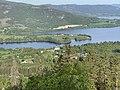 Randsfjorden (nordre ende, northern part of Lake), Fluberg kirke (church), Nes, Vilberg, Rostberget, etc. Søndre Land municipality, Norway. Morning sun. View from Granum Gård boarding house 2021-06-01 IMG 1176.jpg
