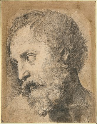 Transfiguration (Raphael) - Study of the Head of an Apostle, black chalk over pouncing, c. 1519