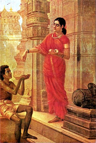 Charity (practice) - A Hindu Woman Giving Alms, painting by Raja Ravi Varma