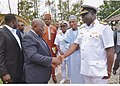 Rear Admiral Samuel Ilesanmi Alade, then the Commandant National Defence College Nigeria, welcoming The President of Republic of Ghana, Nana Akufo-Adoo, to the College for an international event in 2017.jpg
