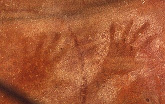 Blue Mountains (New South Wales) - Aboriginal hand stencils in Red Hands Cave, near Glenbrook