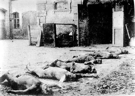 Kharkiv govcheka yard (Sadova street, 5) with the corpses of executed. Red terror 002.jpg