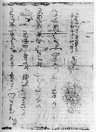 "Reformed Egyptian - Hofmann forgery of ""Reformed Egyptian"" document, LDS Church archives. Note the columnar arrangement and the ""Mexican Calendar"" described by Anthon."