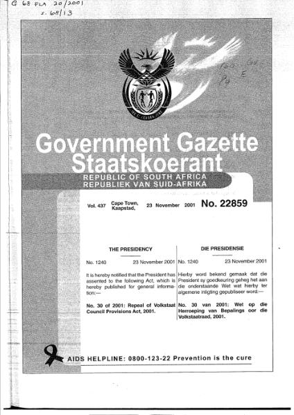 File:Repeal of Volkstaat Council Provisions Act 2001.djvu