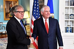 Luis Almagro - Almagro with Rex Tillerson in Washington in 2017