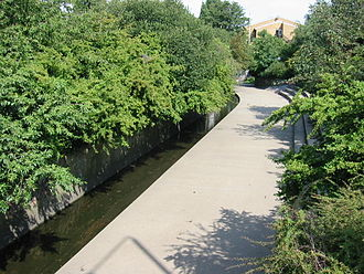 River Rom - The river is culverted north of Roneo Corner and runs underneath Romford