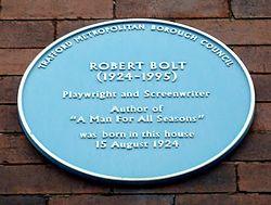 Photo of Robert Bolt blue plaque