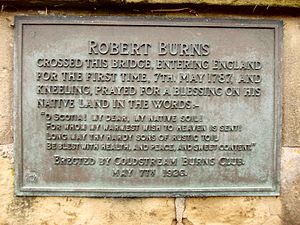 Coldstream Bridge - Image: Robert Burns plaque on Coldstream Bridge