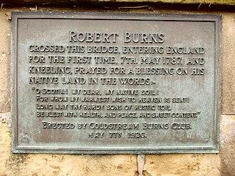 Coldstream Bridge - Image: Robert Burns plaque on Coldstream Bridge